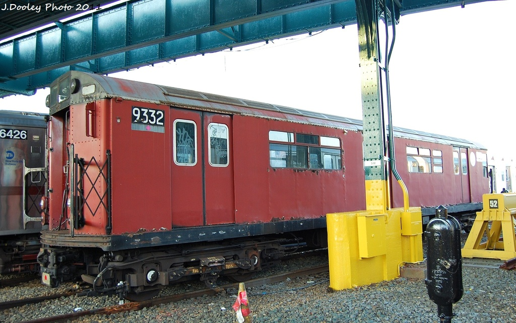 (331k, 1024x642)<br><b>Country:</b> United States<br><b>City:</b> New York<br><b>System:</b> New York City Transit<br><b>Location:</b> 239th Street Yard<br><b>Car:</b> R-33 World's Fair (St. Louis, 1963-64) 9332 <br><b>Photo by:</b> John Dooley<br><b>Date:</b> 12/8/2011<br><b>Viewed (this week/total):</b> 1 / 887