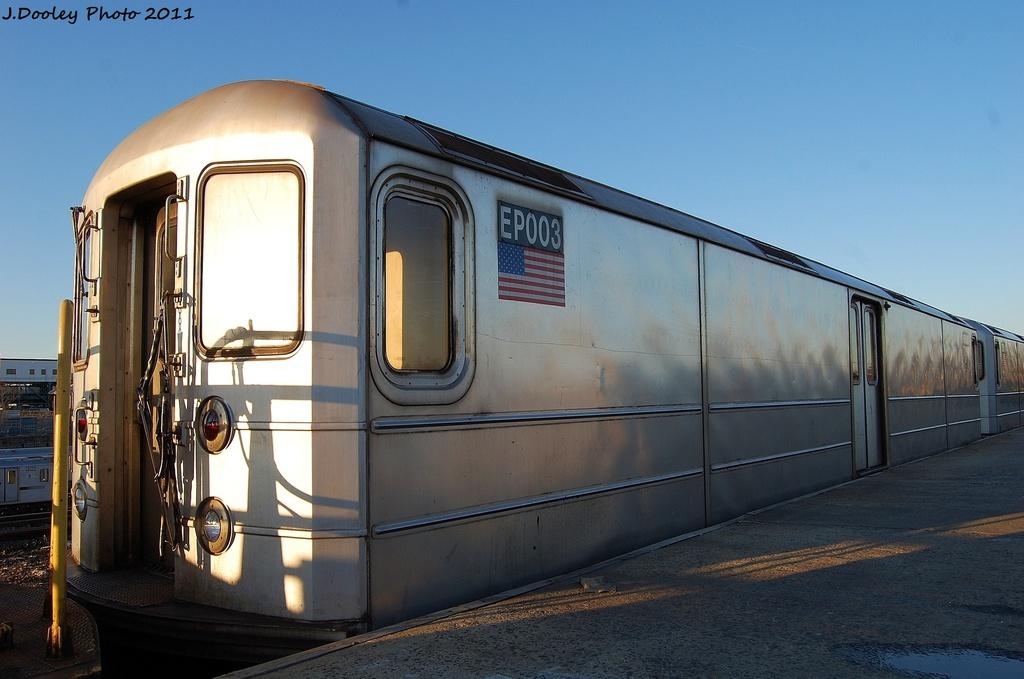 (264k, 1024x679)<br><b>Country:</b> United States<br><b>City:</b> New York<br><b>System:</b> New York City Transit<br><b>Location:</b> 239th Street Yard<br><b>Car:</b> R-127/R-134 (Kawasaki, 1991-1996) EP003 <br><b>Photo by:</b> John Dooley<br><b>Date:</b> 12/8/2011<br><b>Viewed (this week/total):</b> 0 / 723