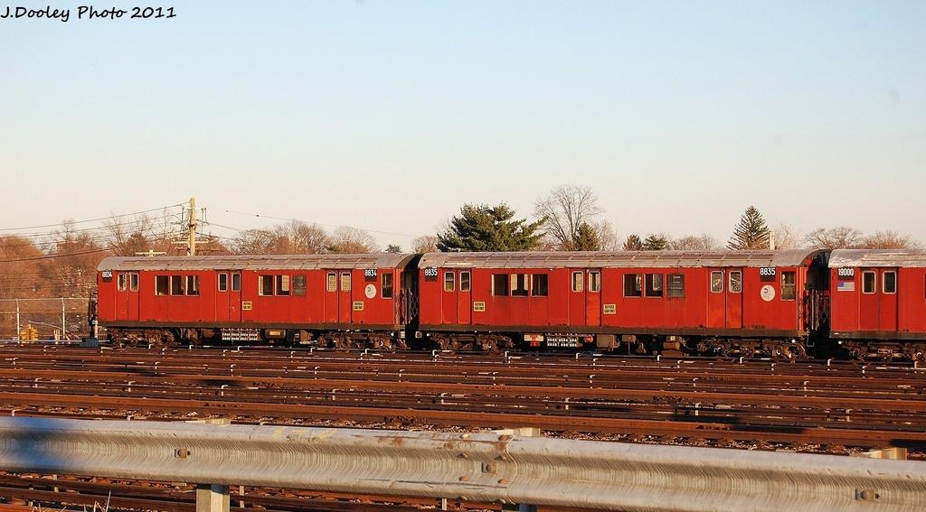 (280k, 1024x567)<br><b>Country:</b> United States<br><b>City:</b> New York<br><b>System:</b> New York City Transit<br><b>Location:</b> 239th Street Yard<br><b>Car:</b> R-33 Main Line (St. Louis, 1962-63) 8834 <br><b>Photo by:</b> John Dooley<br><b>Date:</b> 12/8/2011<br><b>Viewed (this week/total):</b> 0 / 829