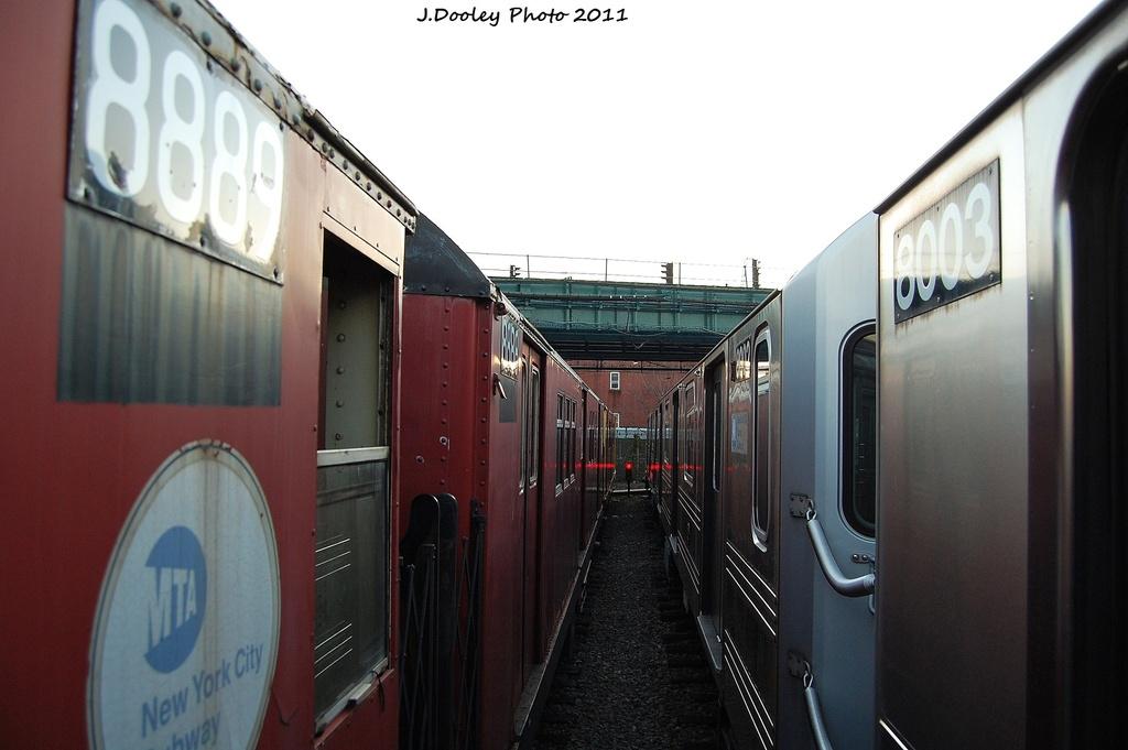 (238k, 1024x681)<br><b>Country:</b> United States<br><b>City:</b> New York<br><b>System:</b> New York City Transit<br><b>Location:</b> 239th Street Yard<br><b>Car:</b> R-33 Main Line (St. Louis, 1962-63) 8888 <br><b>Photo by:</b> John Dooley<br><b>Date:</b> 12/8/2011<br><b>Viewed (this week/total):</b> 3 / 901