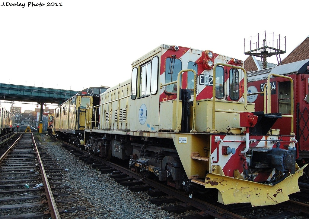 (361k, 1024x727)<br><b>Country:</b> United States<br><b>City:</b> New York<br><b>System:</b> New York City Transit<br><b>Location:</b> 239th Street Yard<br><b>Car:</b> R-77E Locomotive  E02 <br><b>Photo by:</b> John Dooley<br><b>Date:</b> 12/8/2011<br><b>Viewed (this week/total):</b> 0 / 569