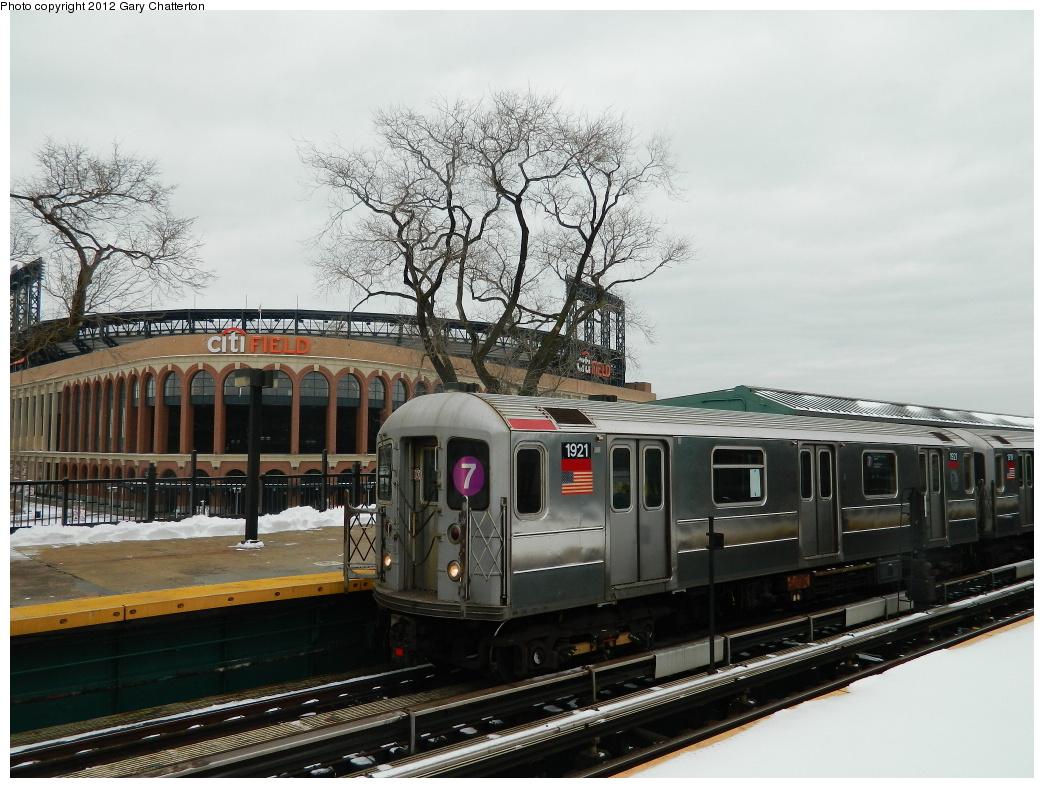 (324k, 1044x788)<br><b>Country:</b> United States<br><b>City:</b> New York<br><b>System:</b> New York City Transit<br><b>Line:</b> IRT Flushing Line<br><b>Location:</b> Willets Point/Mets (fmr. Shea Stadium) <br><b>Route:</b> 7<br><b>Car:</b> R-62A (Bombardier, 1984-1987)  1921 <br><b>Photo by:</b> Gary Chatterton<br><b>Date:</b> 1/22/2012<br><b>Viewed (this week/total):</b> 1 / 1139