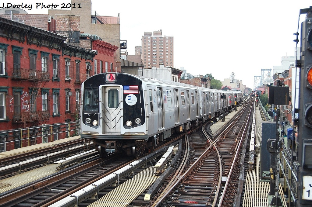 (409k, 1024x681)<br><b>Country:</b> United States<br><b>City:</b> New York<br><b>System:</b> New York City Transit<br><b>Line:</b> BMT Nassau Street/Jamaica Line<br><b>Location:</b> Hewes Street <br><b>Route:</b> J<br><b>Car:</b> R-160A-1 (Alstom, 2005-2008, 4 car sets)  8557 <br><b>Photo by:</b> John Dooley<br><b>Date:</b> 9/20/2011<br><b>Viewed (this week/total):</b> 2 / 852