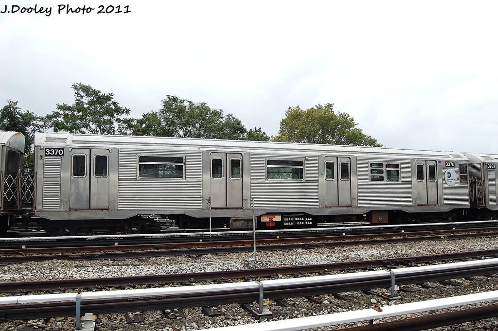 (347k, 1024x681)<br><b>Country:</b> United States<br><b>City:</b> New York<br><b>System:</b> New York City Transit<br><b>Location:</b> Fresh Pond Yard<br><b>Car:</b> R-32 (Budd, 1964)  3370 <br><b>Photo by:</b> John Dooley<br><b>Date:</b> 9/20/2011<br><b>Viewed (this week/total):</b> 1 / 935