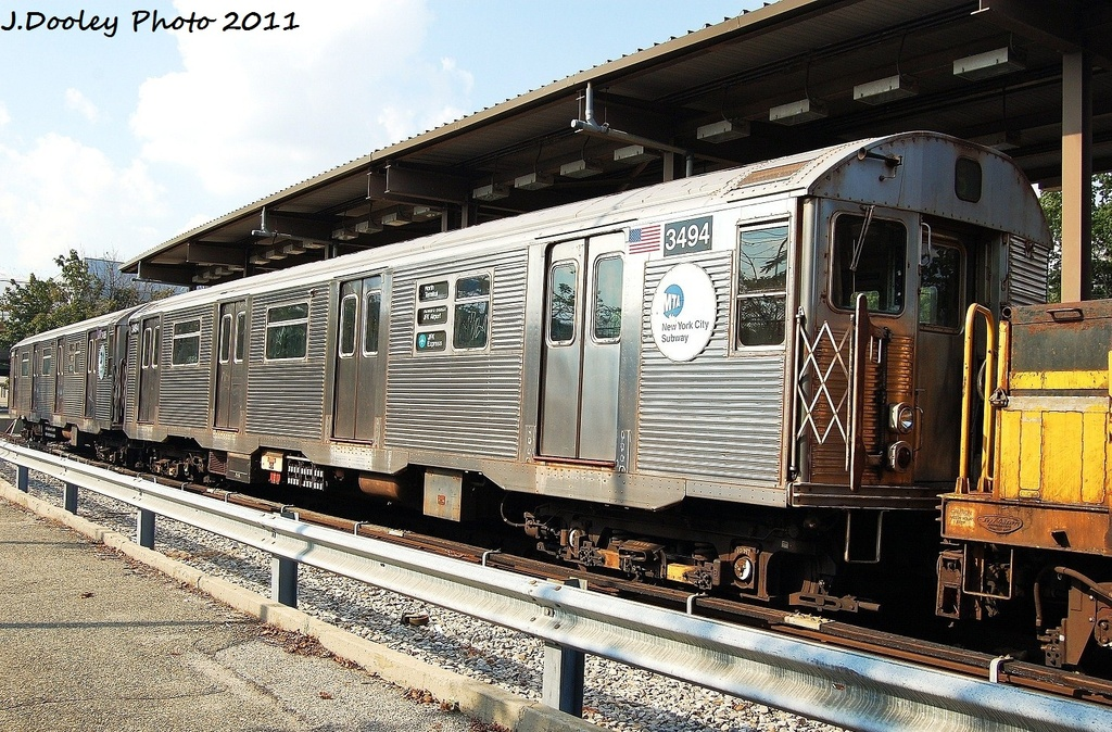 (429k, 1024x674)<br><b>Country:</b> United States<br><b>City:</b> New York<br><b>System:</b> New York City Transit<br><b>Location:</b> 36th Street Yard<br><b>Car:</b> R-32 (Budd, 1964)  3494 <br><b>Photo by:</b> John Dooley<br><b>Date:</b> 9/13/2011<br><b>Viewed (this week/total):</b> 2 / 789