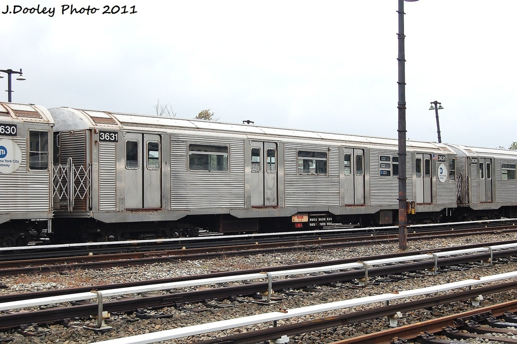 (352k, 1024x681)<br><b>Country:</b> United States<br><b>City:</b> New York<br><b>System:</b> New York City Transit<br><b>Location:</b> Fresh Pond Yard<br><b>Car:</b> R-32 (Budd, 1964)  3631 <br><b>Photo by:</b> John Dooley<br><b>Date:</b> 9/20/2011<br><b>Viewed (this week/total):</b> 4 / 809