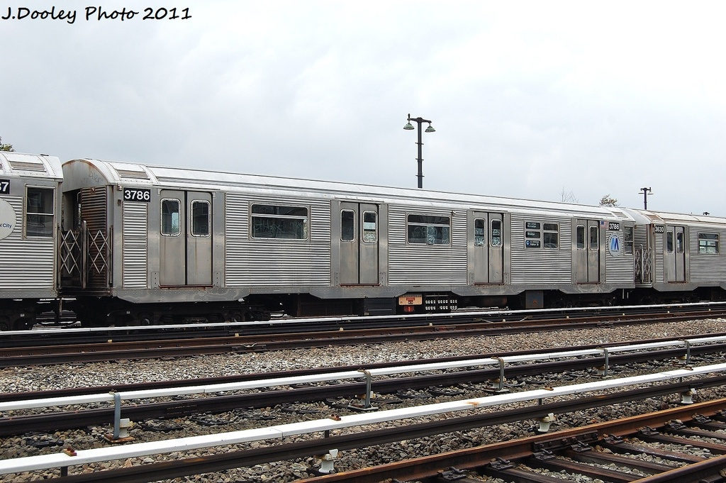 (342k, 1024x681)<br><b>Country:</b> United States<br><b>City:</b> New York<br><b>System:</b> New York City Transit<br><b>Location:</b> Fresh Pond Yard<br><b>Car:</b> R-32 (Budd, 1964)  3786 <br><b>Photo by:</b> John Dooley<br><b>Date:</b> 9/20/2011<br><b>Viewed (this week/total):</b> 5 / 771
