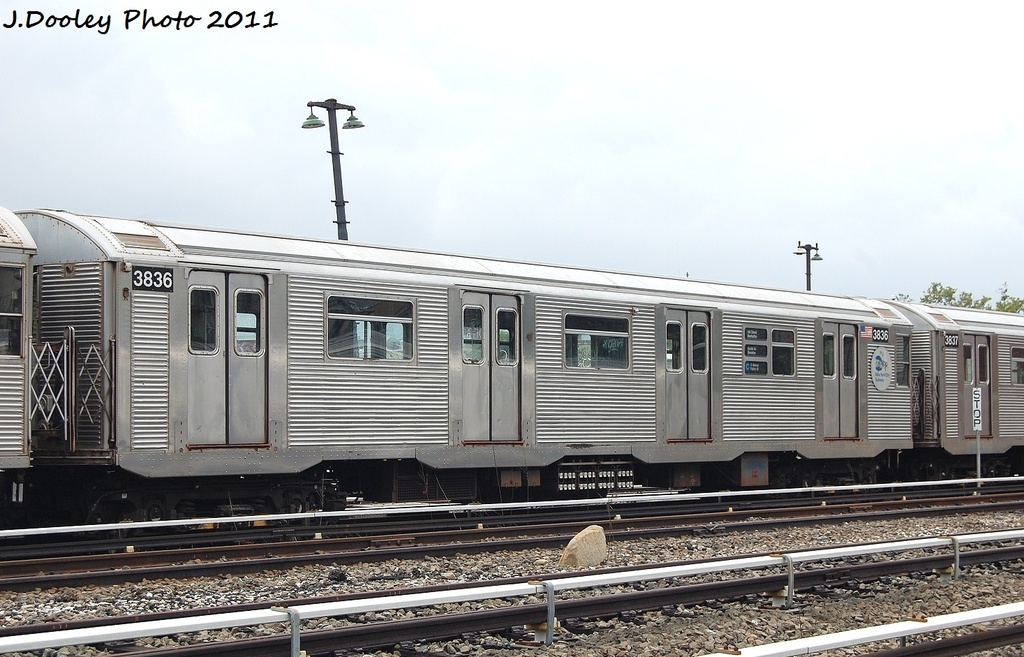 (306k, 1024x657)<br><b>Country:</b> United States<br><b>City:</b> New York<br><b>System:</b> New York City Transit<br><b>Location:</b> Fresh Pond Yard<br><b>Car:</b> R-32 (Budd, 1964)  3836 <br><b>Photo by:</b> John Dooley<br><b>Date:</b> 9/20/2011<br><b>Viewed (this week/total):</b> 4 / 846