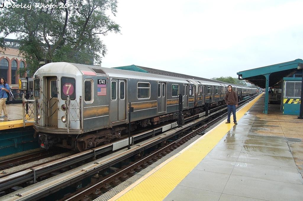 (364k, 1024x680)<br><b>Country:</b> United States<br><b>City:</b> New York<br><b>System:</b> New York City Transit<br><b>Line:</b> IRT Flushing Line<br><b>Location:</b> Willets Point/Mets (fmr. Shea Stadium) <br><b>Route:</b> 7<br><b>Car:</b> R-62A (Bombardier, 1984-1987)  1741 <br><b>Photo by:</b> John Dooley<br><b>Date:</b> 9/20/2011<br><b>Viewed (this week/total):</b> 1 / 762