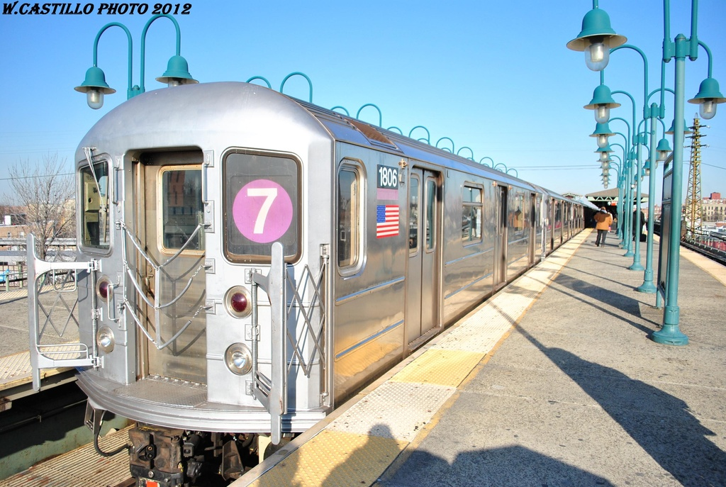 (331k, 1024x687)<br><b>Country:</b> United States<br><b>City:</b> New York<br><b>System:</b> New York City Transit<br><b>Line:</b> IRT Flushing Line<br><b>Location:</b> 61st Street/Woodside <br><b>Route:</b> 7<br><b>Car:</b> R-62A (Bombardier, 1984-1987)  1806 <br><b>Photo by:</b> Wilfredo Castillo<br><b>Date:</b> 3/6/2012<br><b>Viewed (this week/total):</b> 0 / 991