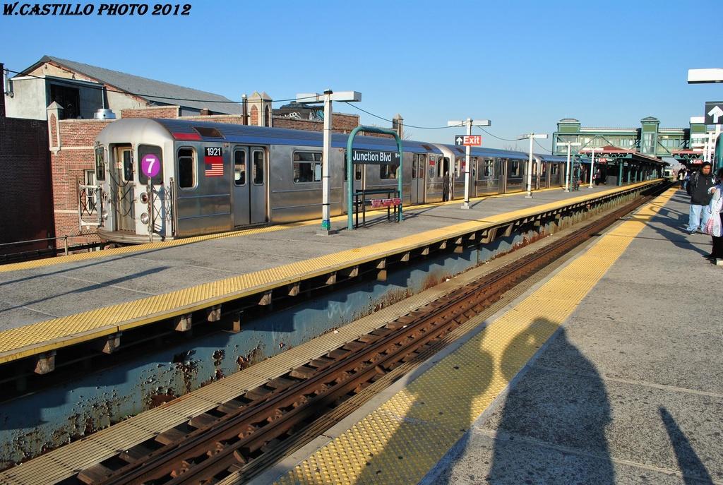 (368k, 1024x687)<br><b>Country:</b> United States<br><b>City:</b> New York<br><b>System:</b> New York City Transit<br><b>Line:</b> IRT Flushing Line<br><b>Location:</b> Junction Boulevard <br><b>Route:</b> 7<br><b>Car:</b> R-62A (Bombardier, 1984-1987)  1921 <br><b>Photo by:</b> Wilfredo Castillo<br><b>Date:</b> 3/6/2012<br><b>Viewed (this week/total):</b> 0 / 1316