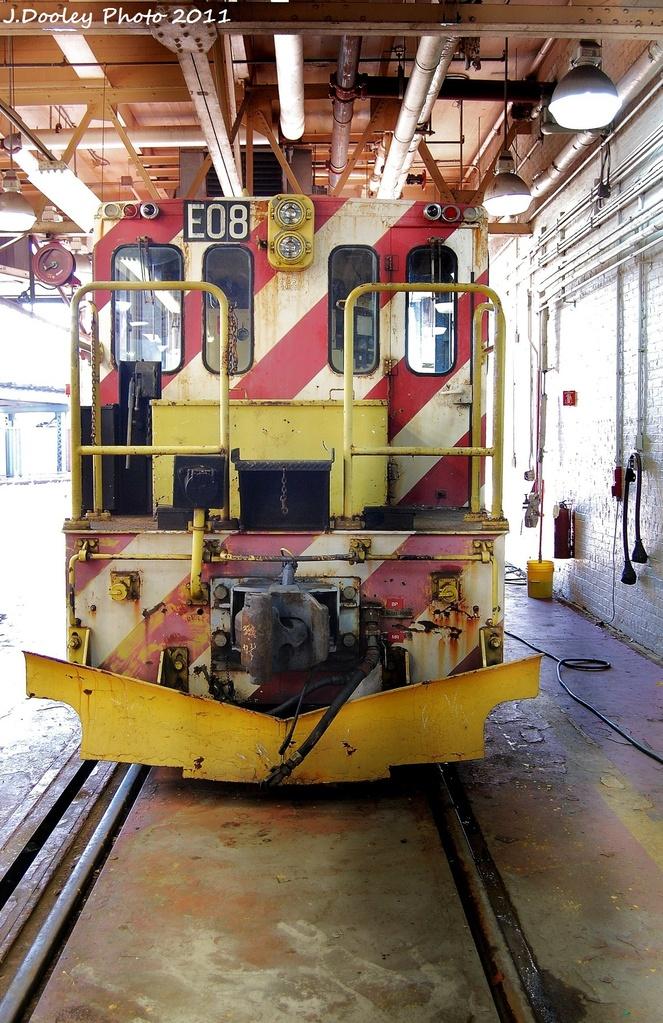 (392k, 663x1023)<br><b>Country:</b> United States<br><b>City:</b> New York<br><b>System:</b> New York City Transit<br><b>Location:</b> Coney Island Shop-Paint Shop<br><b>Car:</b> R-77E Locomotive  E08 <br><b>Photo by:</b> John Dooley<br><b>Date:</b> 10/9/2011<br><b>Viewed (this week/total):</b> 1 / 562