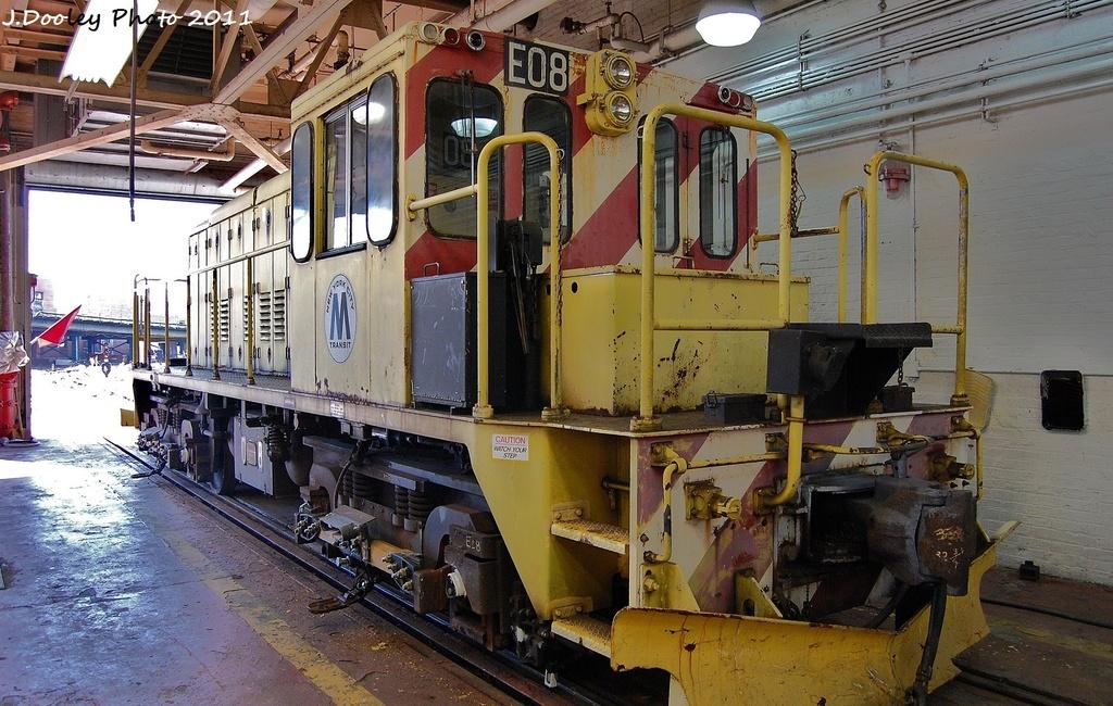 (376k, 1024x650)<br><b>Country:</b> United States<br><b>City:</b> New York<br><b>System:</b> New York City Transit<br><b>Location:</b> Coney Island Shop-Paint Shop<br><b>Car:</b> R-77E Locomotive  E08 <br><b>Photo by:</b> John Dooley<br><b>Date:</b> 10/9/2011<br><b>Viewed (this week/total):</b> 1 / 688