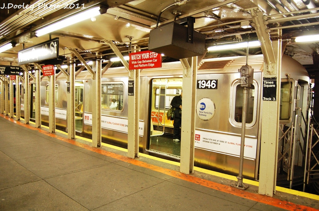 (373k, 1024x680)<br><b>Country:</b> United States<br><b>City:</b> New York<br><b>System:</b> New York City Transit<br><b>Line:</b> IRT Times Square-Grand Central Shuttle<br><b>Location:</b> Times Square <br><b>Route:</b> S<br><b>Car:</b> R-62A (Bombardier, 1984-1987)  1946 <br><b>Photo by:</b> John Dooley<br><b>Date:</b> 10/23/2011<br><b>Viewed (this week/total):</b> 0 / 1023