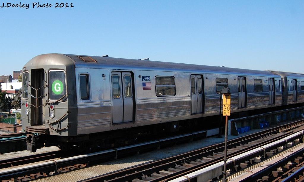 (270k, 1024x612)<br><b>Country:</b> United States<br><b>City:</b> New York<br><b>System:</b> New York City Transit<br><b>Line:</b> BMT Culver Line<br><b>Location:</b> Ditmas Avenue <br><b>Route:</b> G<br><b>Car:</b> R-68 (Westinghouse-Amrail, 1986-1988)  2798 <br><b>Photo by:</b> John Dooley<br><b>Date:</b> 10/9/2011<br><b>Viewed (this week/total):</b> 0 / 871