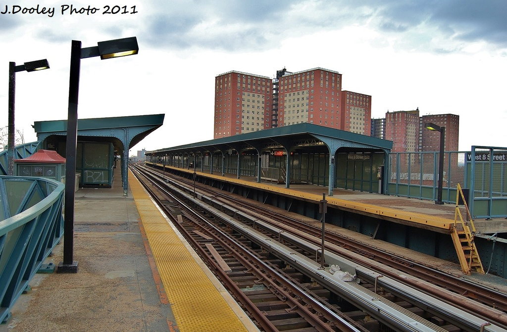 (344k, 1024x671)<br><b>Country:</b> United States<br><b>City:</b> New York<br><b>System:</b> New York City Transit<br><b>Line:</b> BMT Brighton Line<br><b>Location:</b> West 8th Street <br><b>Photo by:</b> John Dooley<br><b>Date:</b> 12/31/2011<br><b>Viewed (this week/total):</b> 1 / 844