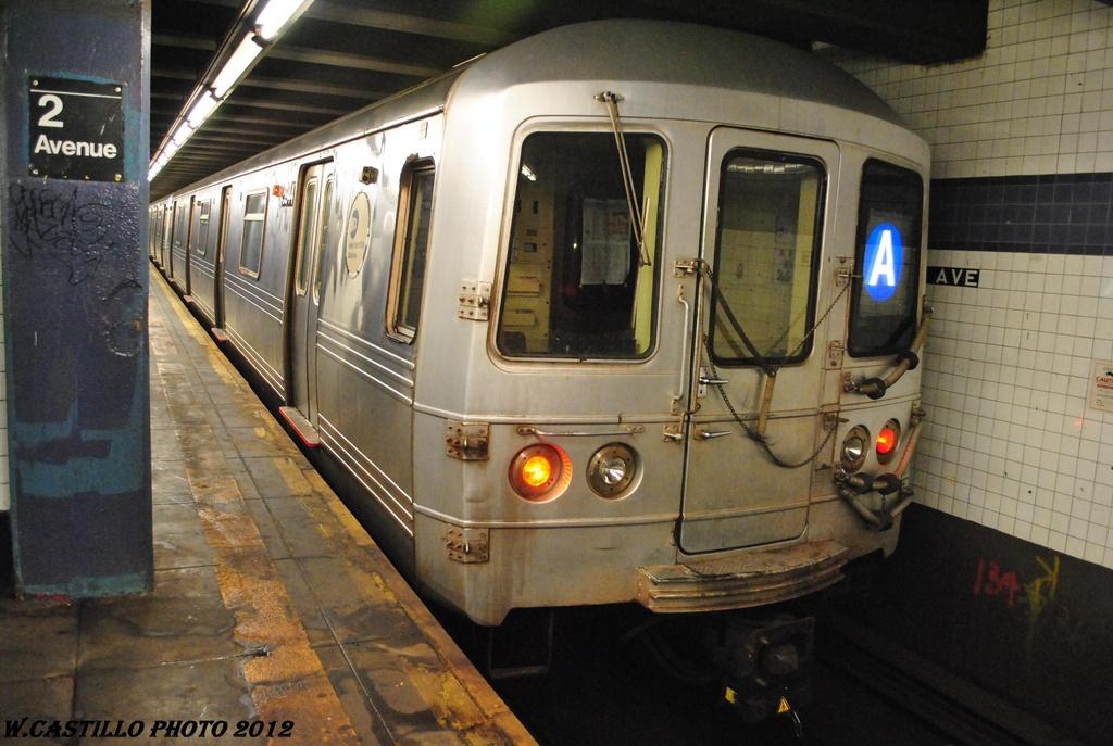 (295k, 1024x687)<br><b>Country:</b> United States<br><b>City:</b> New York<br><b>System:</b> New York City Transit<br><b>Line:</b> IND 6th Avenue Line<br><b>Location:</b> 2nd Avenue <br><b>Route:</b> A reroute<br><b>Car:</b> R-46 (Pullman-Standard, 1974-75) 5944 <br><b>Photo by:</b> Wilfredo Castillo<br><b>Date:</b> 3/13/2012<br><b>Viewed (this week/total):</b> 4 / 670