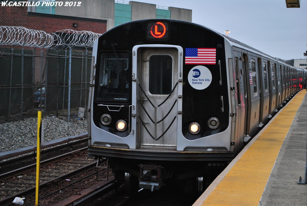 (315k, 1024x687)<br><b>Country:</b> United States<br><b>City:</b> New York<br><b>System:</b> New York City Transit<br><b>Line:</b> BMT Canarsie Line<br><b>Location:</b> East 105th Street <br><b>Route:</b> L<br><b>Car:</b> R-143 (Kawasaki, 2001-2002) 8349 <br><b>Photo by:</b> Wilfredo Castillo<br><b>Date:</b> 3/15/2012<br><b>Viewed (this week/total):</b> 1 / 894