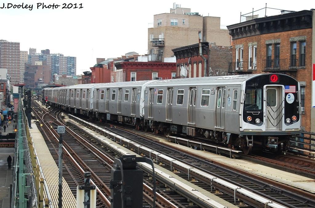 (384k, 1024x675)<br><b>Country:</b> United States<br><b>City:</b> New York<br><b>System:</b> New York City Transit<br><b>Line:</b> BMT Nassau Street/Jamaica Line<br><b>Location:</b> Marcy Avenue <br><b>Route:</b> J<br><b>Car:</b> R-160A-1 (Alstom, 2005-2008, 4 car sets)  8357 <br><b>Photo by:</b> John Dooley<br><b>Date:</b> 9/20/2011<br><b>Viewed (this week/total):</b> 1 / 1016