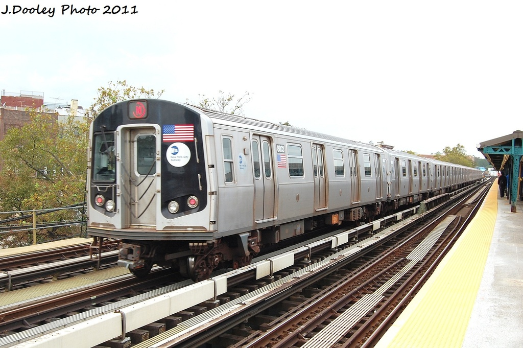 (316k, 1024x681)<br><b>Country:</b> United States<br><b>City:</b> New York<br><b>System:</b> New York City Transit<br><b>Line:</b> BMT West End Line<br><b>Location:</b> Fort Hamilton Parkway <br><b>Route:</b> N reroute<br><b>Car:</b> R-160B (Kawasaki, 2005-2008)  8803 <br><b>Photo by:</b> John Dooley<br><b>Date:</b> 9/22/2011<br><b>Viewed (this week/total):</b> 0 / 704