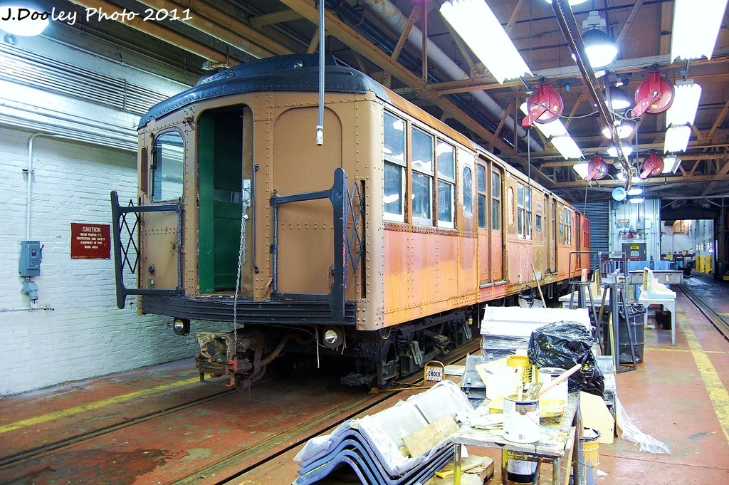 (426k, 1024x681)<br><b>Country:</b> United States<br><b>City:</b> New York<br><b>System:</b> New York City Transit<br><b>Location:</b> Coney Island Shop-Paint Shop<br><b>Car:</b> BMT A/B-Type Standard 239x <br><b>Photo by:</b> John Dooley<br><b>Date:</b> 8/26/2011<br><b>Notes:</b> BMT standard museum car in paint shop<br><b>Viewed (this week/total):</b> 1 / 1238