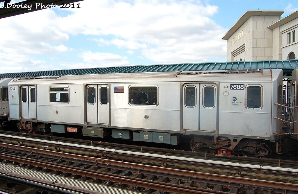 (325k, 1024x668)<br><b>Country:</b> United States<br><b>City:</b> New York<br><b>System:</b> New York City Transit<br><b>Line:</b> IRT Woodlawn Line<br><b>Location:</b> 161st Street/River Avenue (Yankee Stadium) <br><b>Route:</b> 4<br><b>Car:</b> R-142A (Option Order, Kawasaki, 2002-2003)  7688 <br><b>Photo by:</b> John Dooley<br><b>Date:</b> 10/23/2011<br><b>Viewed (this week/total):</b> 1 / 795