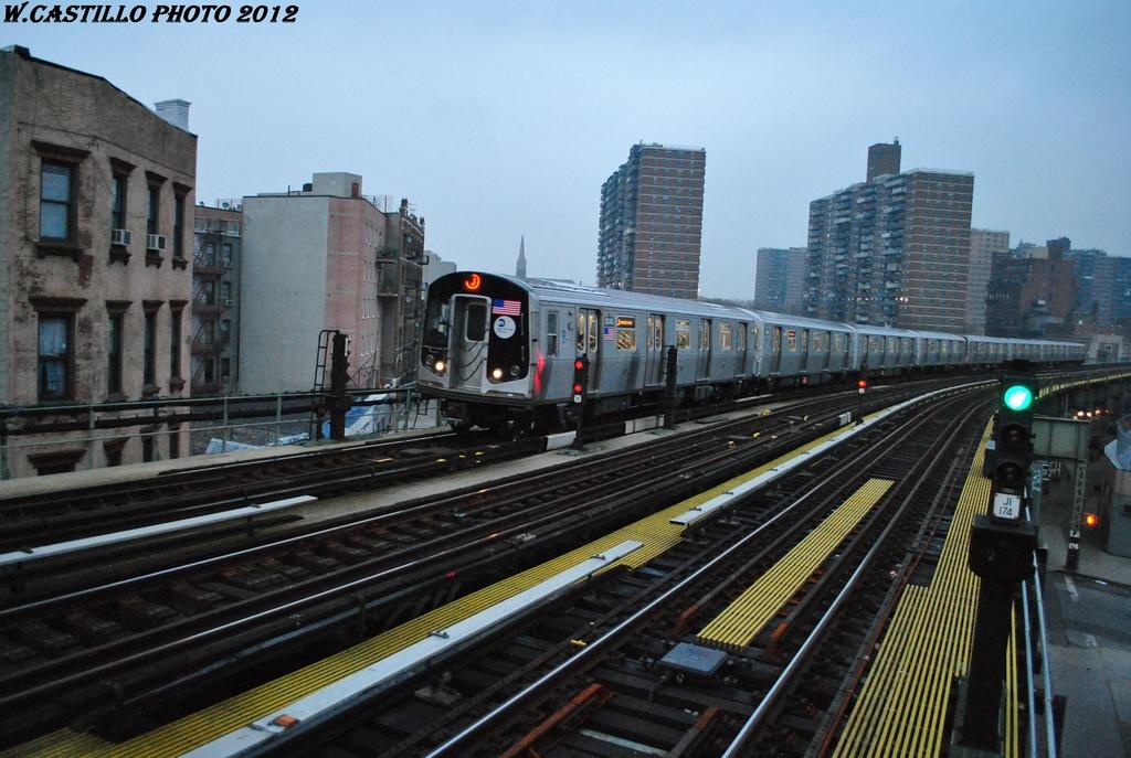 (305k, 1024x687)<br><b>Country:</b> United States<br><b>City:</b> New York<br><b>System:</b> New York City Transit<br><b>Line:</b> BMT Nassau Street/Jamaica Line<br><b>Location:</b> Hewes Street <br><b>Route:</b> J<br><b>Car:</b> R-160A-1 (Alstom, 2005-2008, 4 car sets)  8345 <br><b>Photo by:</b> Wilfredo Castillo<br><b>Date:</b> 3/16/2012<br><b>Viewed (this week/total):</b> 0 / 732