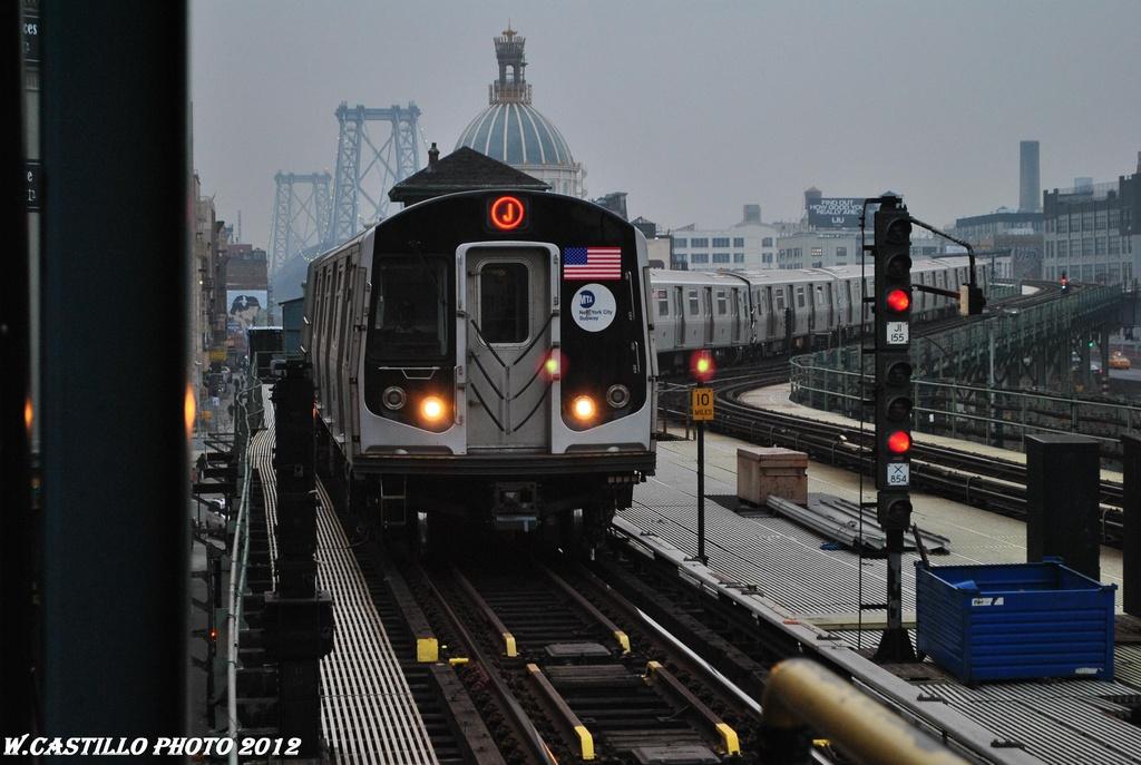 (281k, 1024x687)<br><b>Country:</b> United States<br><b>City:</b> New York<br><b>System:</b> New York City Transit<br><b>Line:</b> BMT Nassau Street/Jamaica Line<br><b>Location:</b> Marcy Avenue <br><b>Route:</b> J<br><b>Car:</b> R-160A-1 (Alstom, 2005-2008, 4 car sets)  8533 <br><b>Photo by:</b> Wilfredo Castillo<br><b>Date:</b> 3/16/2012<br><b>Viewed (this week/total):</b> 3 / 1020