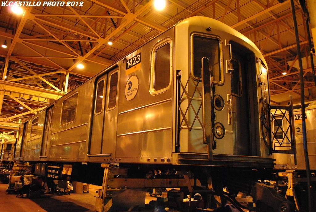 (346k, 1024x687)<br><b>Country:</b> United States<br><b>City:</b> New York<br><b>System:</b> New York City Transit<br><b>Location:</b> Coney Island Shop/Overhaul & Repair Shop<br><b>Car:</b> R-62 (Kawasaki, 1983-1985)  1423 <br><b>Photo by:</b> Wilfredo Castillo<br><b>Date:</b> 2/26/2012<br><b>Viewed (this week/total):</b> 0 / 528