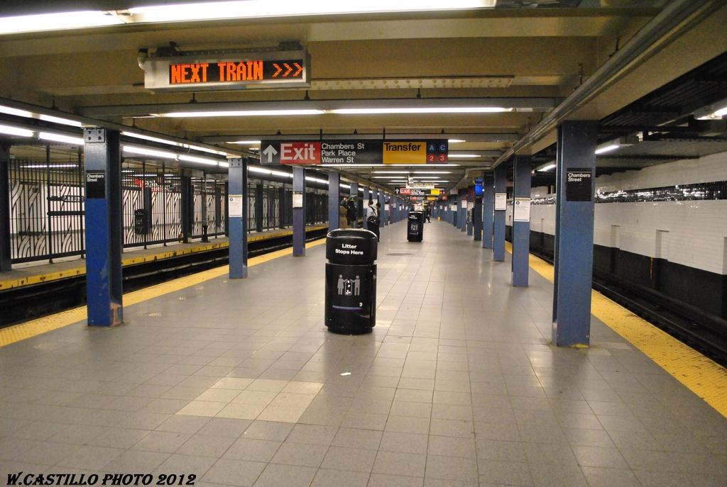 (296k, 1024x687)<br><b>Country:</b> United States<br><b>City:</b> New York<br><b>System:</b> New York City Transit<br><b>Line:</b> IND 8th Avenue Line<br><b>Location:</b> Chambers Street/World Trade Center <br><b>Photo by:</b> Wilfredo Castillo<br><b>Date:</b> 3/22/2012<br><b>Viewed (this week/total):</b> 2 / 1043