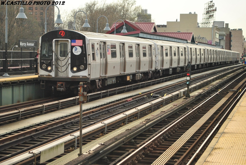 (375k, 1024x687)<br><b>Country:</b> United States<br><b>City:</b> New York<br><b>System:</b> New York City Transit<br><b>Line:</b> BMT Nassau Street/Jamaica Line<br><b>Location:</b> Marcy Avenue <br><b>Route:</b> J<br><b>Car:</b> R-160A-1 (Alstom, 2005-2008, 4 car sets)  8468 <br><b>Photo by:</b> Wilfredo Castillo<br><b>Date:</b> 3/23/2012<br><b>Viewed (this week/total):</b> 1 / 844