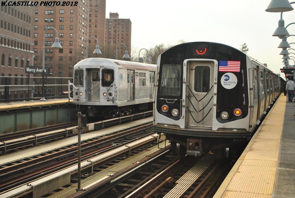(319k, 1024x687)<br><b>Country:</b> United States<br><b>City:</b> New York<br><b>System:</b> New York City Transit<br><b>Line:</b> BMT Nassau Street/Jamaica Line<br><b>Location:</b> Marcy Avenue <br><b>Route:</b> J<br><b>Car:</b> R-160A-1 (Alstom, 2005-2008, 4 car sets)  8604 <br><b>Photo by:</b> Wilfredo Castillo<br><b>Date:</b> 3/23/2012<br><b>Viewed (this week/total):</b> 0 / 1027