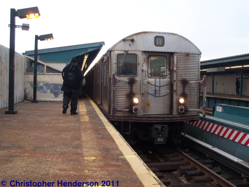 (259k, 1024x768)<br><b>Country:</b> United States<br><b>City:</b> New York<br><b>System:</b> New York City Transit<br><b>Line:</b> IND Fulton Street Line<br><b>Location:</b> Rockaway Boulevard <br><b>Route:</b> A<br><b>Car:</b> R-32 (Budd, 1964)  3400 <br><b>Photo by:</b> Christopher Henderson<br><b>Date:</b> 11/19/2011<br><b>Viewed (this week/total):</b> 0 / 573