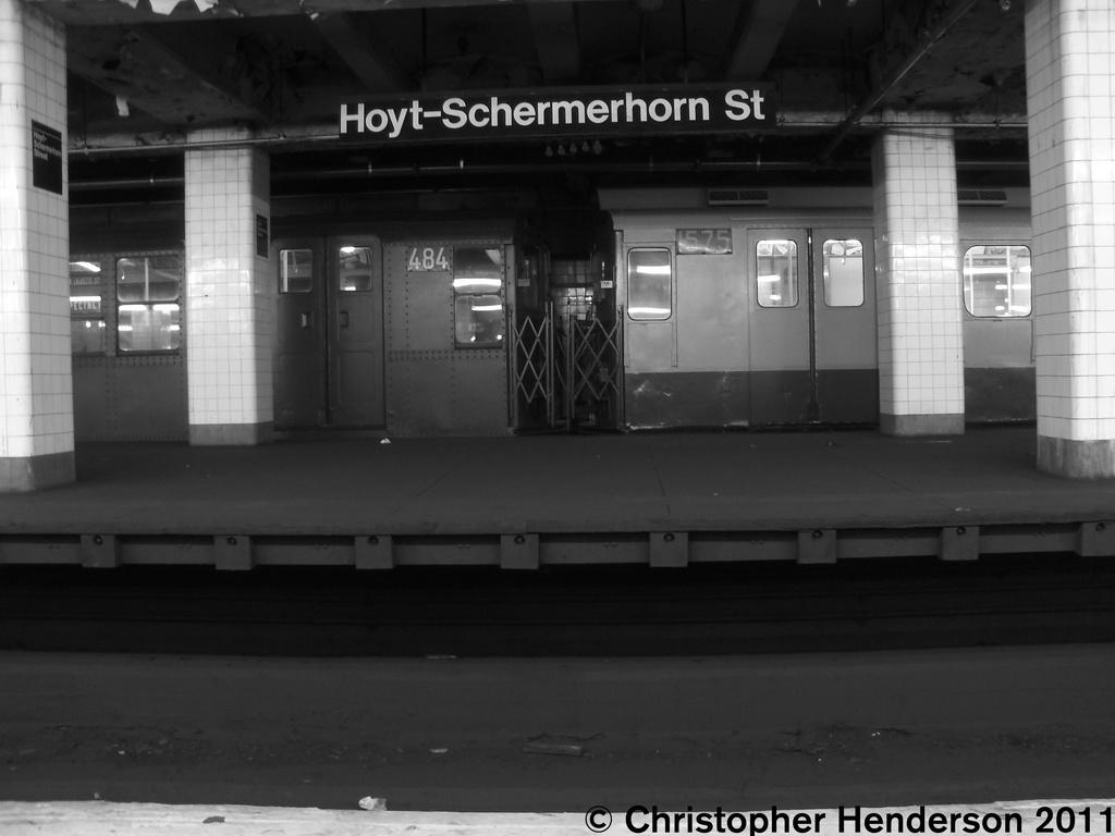 (168k, 1024x768)<br><b>Country:</b> United States<br><b>City:</b> New York<br><b>System:</b> New York City Transit<br><b>Line:</b> IND Fulton Street Line<br><b>Location:</b> Hoyt-Schermerhorn Street <br><b>Car:</b> R-7A (Pullman, 1938)  1575 <br><b>Photo by:</b> Christopher Henderson<br><b>Date:</b> 11/19/2011<br><b>Notes:</b> With R4 484<br><b>Viewed (this week/total):</b> 0 / 1063