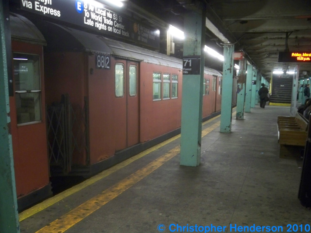 (199k, 1024x768)<br><b>Country:</b> United States<br><b>City:</b> New York<br><b>System:</b> New York City Transit<br><b>Line:</b> IND Queens Boulevard Line<br><b>Location:</b> 71st/Continental Aves./Forest Hills <br><b>Route:</b> Work Service<br><b>Car:</b> R-33 Main Line (St. Louis, 1962-63) 8812 <br><b>Photo by:</b> Christopher Henderson<br><b>Date:</b> 3/12/2010<br><b>Viewed (this week/total):</b> 4 / 1090