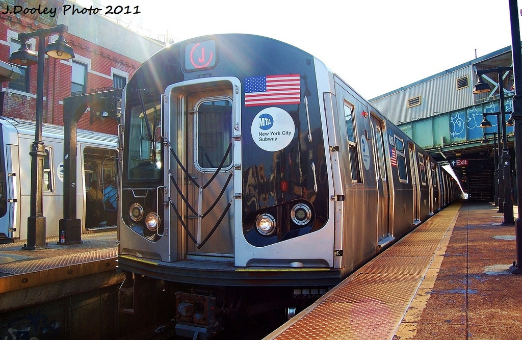 (371k, 1024x667)<br><b>Country:</b> United States<br><b>City:</b> New York<br><b>System:</b> New York City Transit<br><b>Line:</b> BMT Nassau Street/Jamaica Line<br><b>Location:</b> Myrtle Avenue <br><b>Route:</b> J<br><b>Car:</b> R-160A-1 (Alstom, 2005-2008, 4 car sets)  8413 <br><b>Photo by:</b> John Dooley<br><b>Date:</b> 8/17/2011<br><b>Viewed (this week/total):</b> 0 / 766