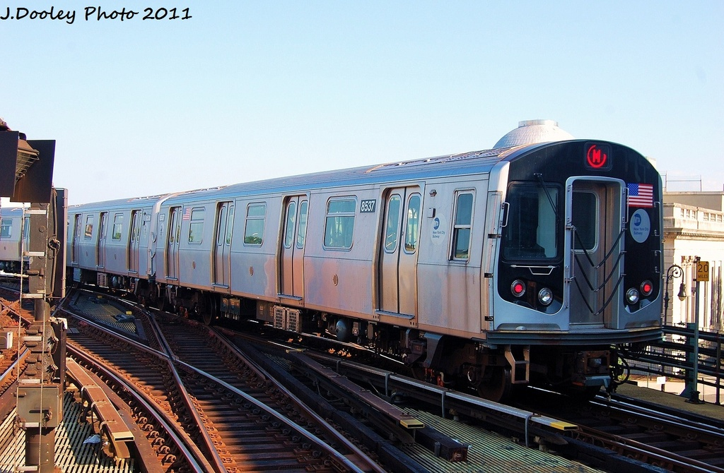 (326k, 1024x670)<br><b>Country:</b> United States<br><b>City:</b> New York<br><b>System:</b> New York City Transit<br><b>Line:</b> BMT Nassau Street/Jamaica Line<br><b>Location:</b> Myrtle Avenue <br><b>Route:</b> M<br><b>Car:</b> R-160A-1 (Alstom, 2005-2008, 4 car sets)  8597 <br><b>Photo by:</b> John Dooley<br><b>Date:</b> 8/17/2011<br><b>Viewed (this week/total):</b> 1 / 819