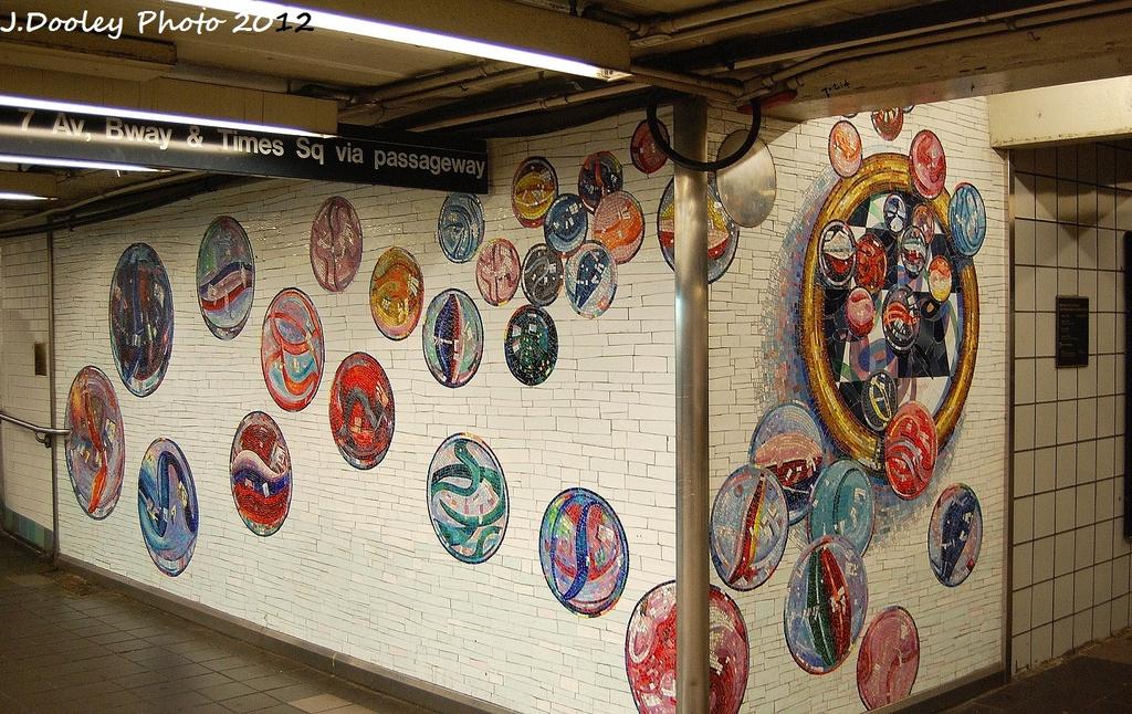 (428k, 1024x646)<br><b>Country:</b> United States<br><b>City:</b> New York<br><b>System:</b> New York City Transit<br><b>Line:</b> IND 8th Avenue Line<br><b>Location:</b> 42nd Street/Port Authority Bus Terminal <br><b>Photo by:</b> John Dooley<br><b>Date:</b> 1/23/2012<br><b>Artwork:</b> <i>Losing My Marbles</i>, Lisa Dinhofer (2003).<br><b>Viewed (this week/total):</b> 1 / 139