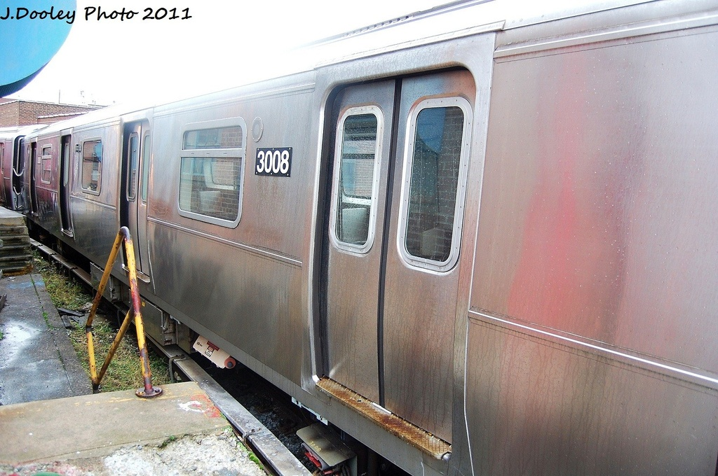 (343k, 1024x680)<br><b>Country:</b> United States<br><b>City:</b> New York<br><b>System:</b> New York City Transit<br><b>Location:</b> 207th Street Yard<br><b>Car:</b> R-110B (Bombardier, 1992) 3008 <br><b>Photo by:</b> John Dooley<br><b>Date:</b> 11/29/2011<br><b>Viewed (this week/total):</b> 0 / 1144