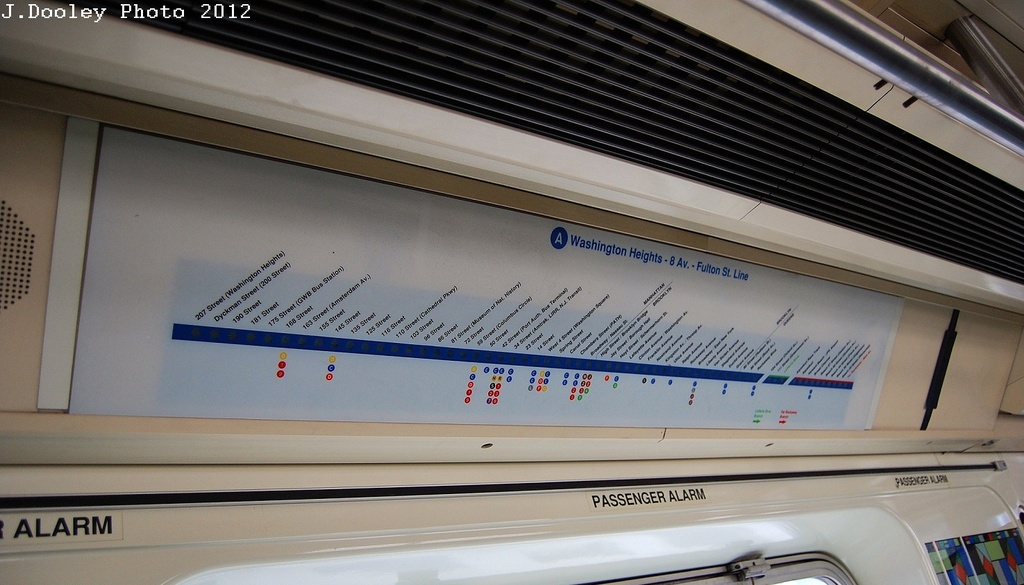 (256k, 1024x585)<br><b>Country:</b> United States<br><b>City:</b> New York<br><b>System:</b> New York City Transit<br><b>Car:</b> R-110B (Bombardier, 1992) Interior <br><b>Photo by:</b> John Dooley<br><b>Date:</b> 2/1/2012<br><b>Viewed (this week/total):</b> 2 / 1742