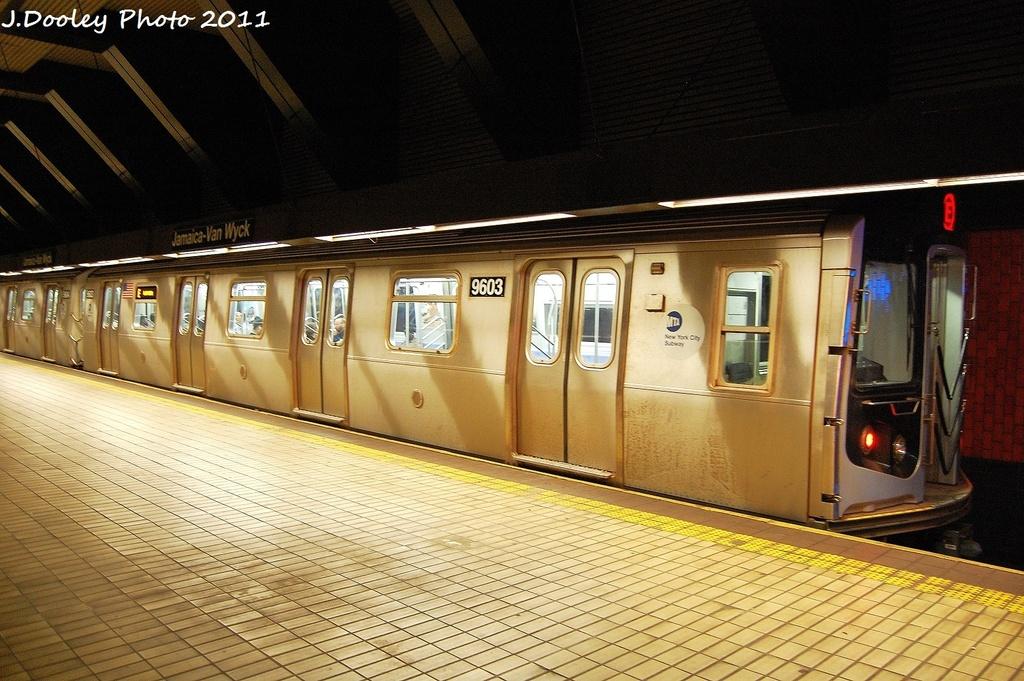 (357k, 1024x681)<br><b>Country:</b> United States<br><b>City:</b> New York<br><b>System:</b> New York City Transit<br><b>Line:</b> IND Queens Boulevard Line<br><b>Location:</b> Jamaica/Van Wyck <br><b>Route:</b> E<br><b>Car:</b> R-160A (Option 2) (Alstom, 2009, 5-car sets)  9603 <br><b>Photo by:</b> John Dooley<br><b>Date:</b> 9/6/2011<br><b>Viewed (this week/total):</b> 8 / 1282