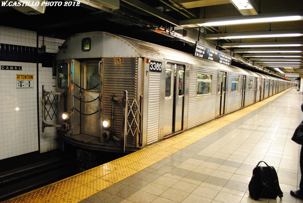 (313k, 1024x687)<br><b>Country:</b> United States<br><b>City:</b> New York<br><b>System:</b> New York City Transit<br><b>Line:</b> IND 8th Avenue Line<br><b>Location:</b> Canal Street-Holland Tunnel <br><b>Route:</b> A<br><b>Car:</b> R-32 (Budd, 1964)  3360 <br><b>Photo by:</b> Wilfredo Castillo<br><b>Date:</b> 3/27/2012<br><b>Viewed (this week/total):</b> 2 / 1213