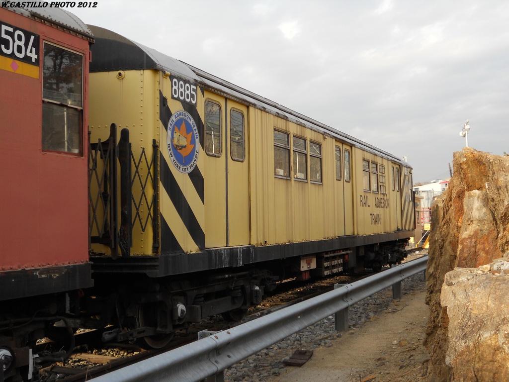 (309k, 1024x768)<br><b>Country:</b> United States<br><b>City:</b> New York<br><b>System:</b> New York City Transit<br><b>Location:</b> Unionport Yard<br><b>Car:</b> Rail Adhesion Train (R-30/R-33 Rebuilds) 8885 <br><b>Photo by:</b> Wilfredo Castillo<br><b>Date:</b> 2012<br><b>Viewed (this week/total):</b> 0 / 1261