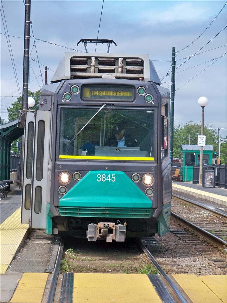 (139k, 768x1024)<br><b>Country:</b> United States<br><b>City:</b> Boston, MA<br><b>System:</b> MBTA<br><b>Line:</b> MBTA Green (C)<br><b>Location:</b> Cleveland Circle <br><b>Car:</b> MBTA Type 8 LRV (Breda, 1998-2006)  3845 <br><b>Photo by:</b> Fran Rogers<br><b>Date:</b> 5/23/2010<br><b>Viewed (this week/total):</b> 0 / 437