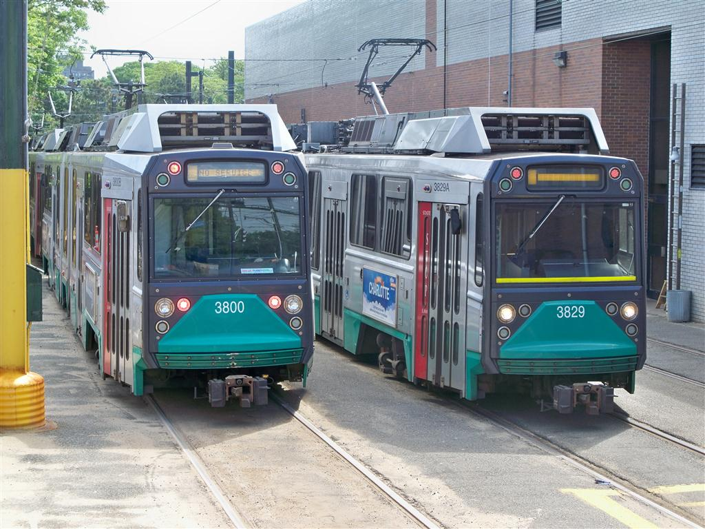 (168k, 1024x768)<br><b>Country:</b> United States<br><b>City:</b> Boston, MA<br><b>System:</b> MBTA<br><b>Line:</b> MBTA Green (C)<br><b>Location:</b> Cleveland Circle Yard <br><b>Car:</b> MBTA Type 8 LRV (Breda, 1998-2006)  3800/3829 <br><b>Photo by:</b> Fran Rogers<br><b>Date:</b> 5/23/2010<br><b>Viewed (this week/total):</b> 3 / 1011