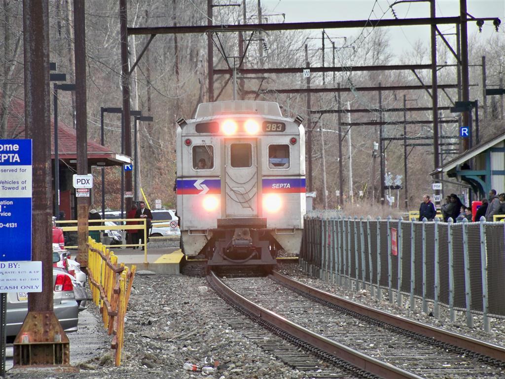(193k, 1024x768)<br><b>Country:</b> United States<br><b>City:</b> Philadelphia, PA<br><b>System:</b> SEPTA Regional Rail<br><b>Line:</b> SEPTA R6<br><b>Location:</b> Miquon <br><b>Car:</b> SEPTA Silverliner IV (GE, 1974-75)  383 <br><b>Photo by:</b> Fran Rogers<br><b>Date:</b> 3/8/2011<br><b>Viewed (this week/total):</b> 0 / 296