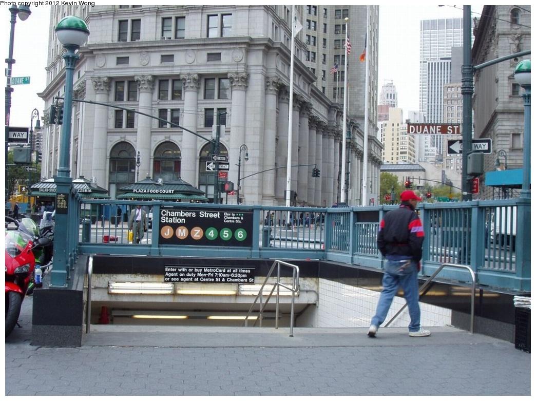 (304k, 1044x781)<br><b>Country:</b> United States<br><b>City:</b> New York<br><b>System:</b> New York City Transit<br><b>Line:</b> BMT Nassau Street/Jamaica Line<br><b>Location:</b> Chambers Street <br><b>Photo by:</b> Kevin Wong<br><b>Date:</b> 10/6/2006<br><b>Viewed (this week/total):</b> 4 / 1634