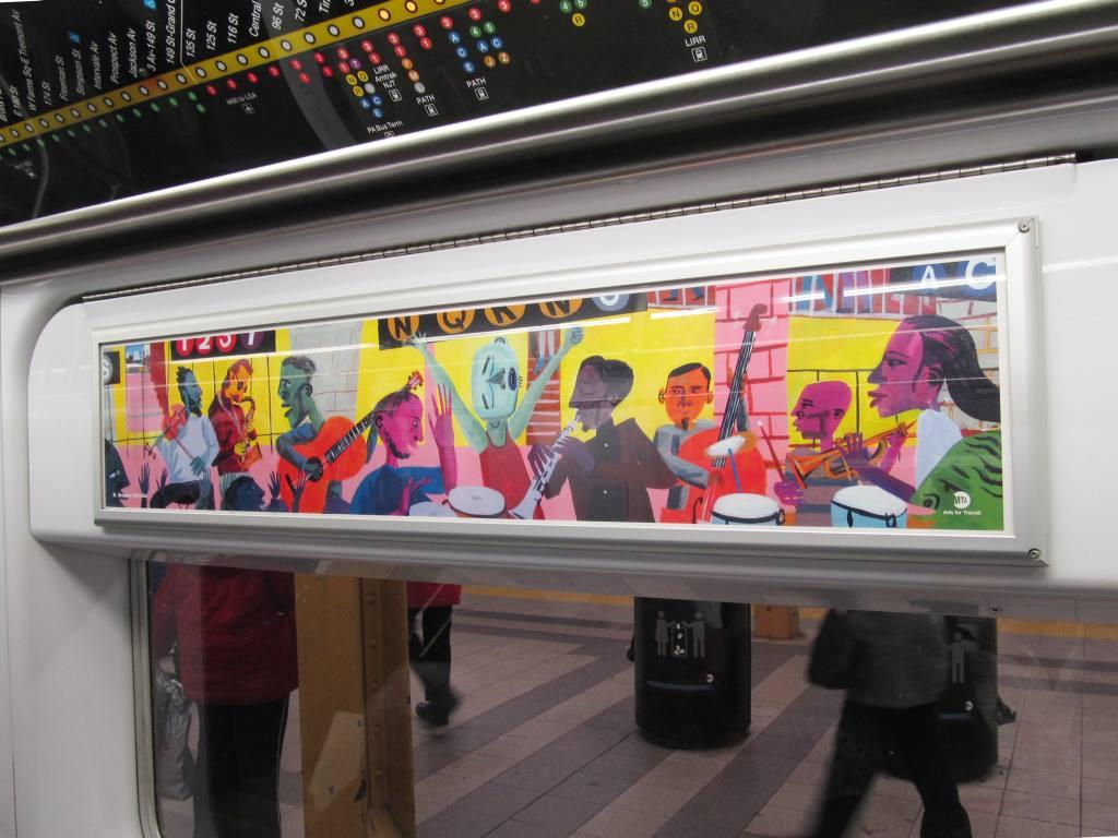 (111k, 1024x768)<br><b>Country:</b> United States<br><b>City:</b> New York<br><b>System:</b> New York City Transit<br><b>Photo by:</b> Robbie Rosenfeld<br><b>Date:</b> 2/2/2012<br><b>Artwork:</b> <i>The Subway Soiree</i>, R. Gregory Christie (2012).<br><b>Viewed (this week/total):</b> 1 / 1167