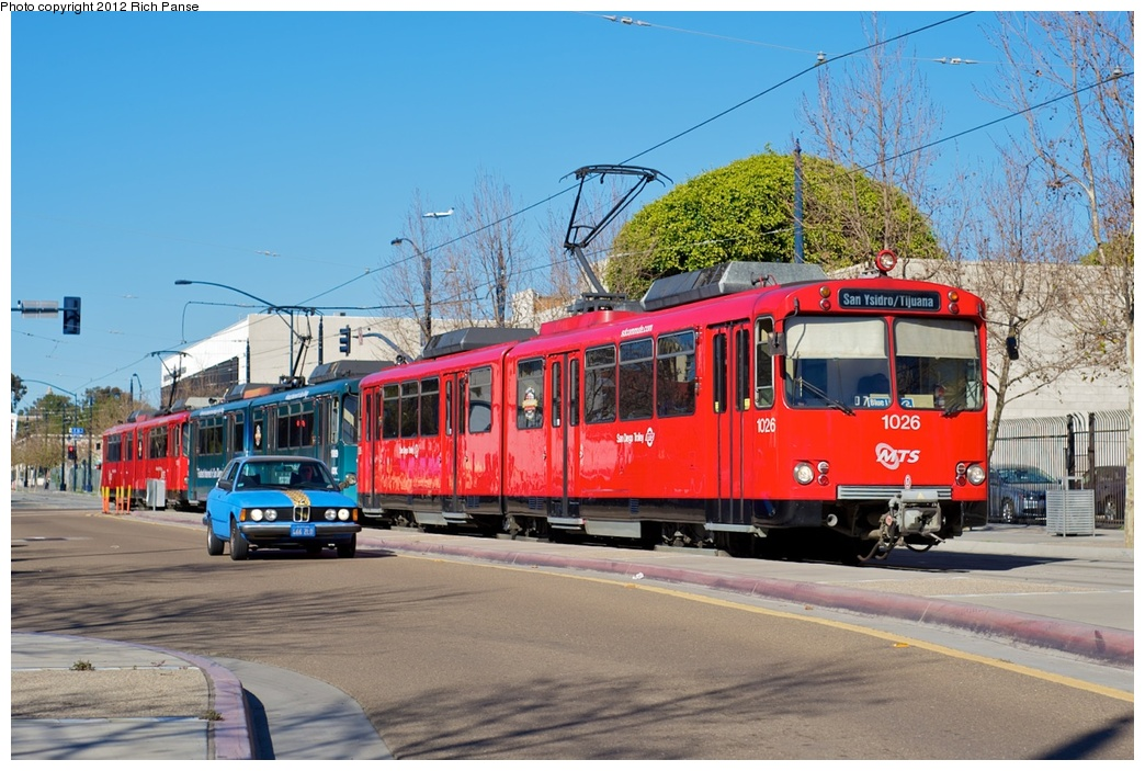 (291k, 1044x703)<br><b>Country:</b> United States<br><b>City:</b> San Diego, CA<br><b>System:</b> San Diego Trolley<br><b>Line:</b> Blue/Orange Line <br><b>Location:</b> Park (12th) & Market <br><b>Car:</b> Siemens U2  1026 <br><b>Photo by:</b> Richard Panse<br><b>Date:</b> 2012<br><b>Viewed (this week/total):</b> 0 / 626
