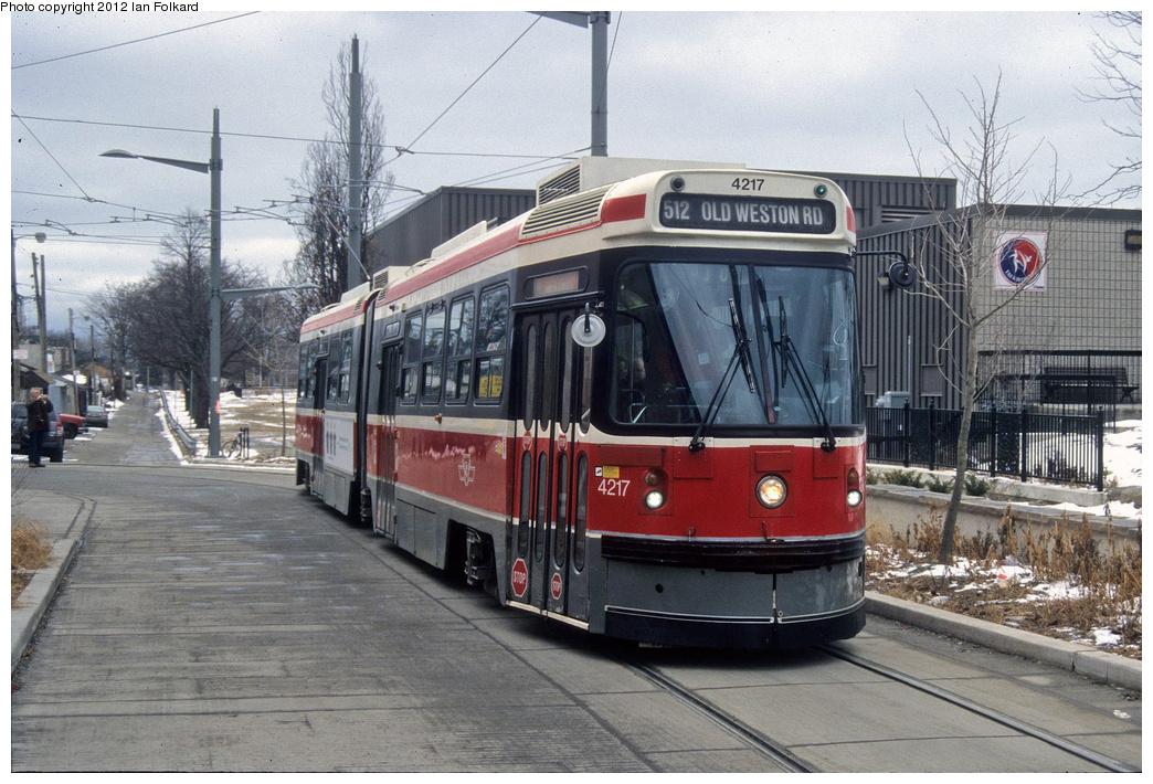 (396k, 1044x710)<br><b>Country:</b> Canada<br><b>City:</b> Toronto<br><b>System:</b> TTC<br><b>Line:</b> TTC 512-St. Clair<br><b>Location:</b> St. Clair/Lansdowne/Earlscourt Loop <br><b>Route:</b> Fan Trip<br><b>Car:</b> TTC ALRV 4217 <br><b>Photo by:</b> Ian Folkard<br><b>Date:</b> 2/14/2010<br><b>Viewed (this week/total):</b> 2 / 402